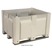 Decade M40SWH1 Pallet Container Solid Wall 48x40x31 Long Side Runners White 1500 Lb Capacity