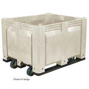 Decade C40SWH1-C1 Pallet Container Solid Wall W/ 6inch Casters 48x40x31 White 1500 Pounds Capacity