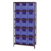 Quantum QSBU-600 Shelving With 15 Giant Hopper Bins Blue, 36x18x75