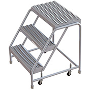 "3 Step Aluminum Rolling Ladder, 24""W Grip Step, W/O Handrails"
