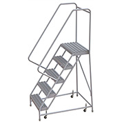 "5 Step Aluminum Rolling Ladder, 24""W Grip Step, 30"" Handrails"