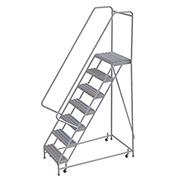 "7 Step Aluminum Rolling Ladder, 24""W Grip Step, 30"" Handrails"