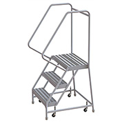 "3 Step Aluminum Rolling Ladder, 16""W Ribbed Step, 30"" Handrails"