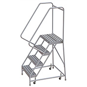 "4 Step Aluminum Rolling Ladder, 24""W Ribbed Step, 30"" Handrails"