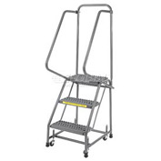 "Grip 16""W 3 Step Steel Rolling Ladder 14""D Top Step"