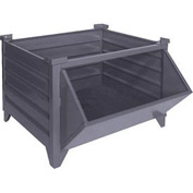 """Topper Stackable Steel Container 51009HF Solid, Hopper Front, 42""""L x 42""""W x 24""""H, Unpainted"""