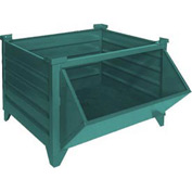 "Topper Stackable Steel Container 51010GHF Solid, Hopper Front, 48""L x 42""W x 24""H, Green"