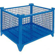 "Topper Stackable Steel Container 61009BDG Wire Mesh, Drop Gate, 42""L x 42""W x 24""H, Blue"