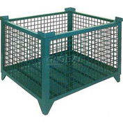 """Topper Stackable Steel Container 61009GDG Wire Mesh, Drop Gate, 42""""L x 42""""W x 24""""H, Green"""