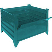 "Topper Stackable Steel Container 51018GDG Solid, Drop Gate, 42""L x 30""W x 24""H, Green"