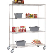 Nexel® Stainless Steel Wire Shelf Truck 48x24x80 1200 Lb. Capacity