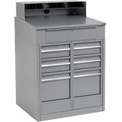 "Shop Desk with 7 Drawers - Gray 34.5""W x 30""D x 51.5""H"