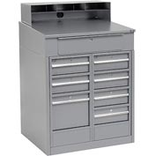 "Shop Desk with 8 Drawers - Gray 34.5""W x 30""D x 51.5""H"