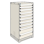 Rousseau Modular Storage Drawer Cabinet 30x27x60, 10 Drawers (3 Sizes) w/o Divider, w/Lock, Beige