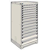 Rousseau Modular Storage Drawer Cabinet 30x27x60, 14 Drawers (3 Sizes) w/o Divider, w/Lock, Beige