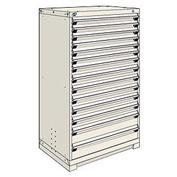Rousseau Modular Storage Drawer Cabinet 36x24x60, 14 Drawers (3 Sizes) w/o Divider, w/Lock, Beige