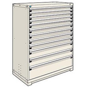 Rousseau Modular Storage Drawer Cabinet 48x24x60, 12 Drawers (4 Sizes) w/o Divider, w/Lock, Beige