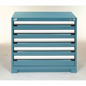 Rousseau Modular Storage Drawer Cabinet 30x27x32, 5 Drawers (2 Sizes) w/o Divider, w/Lock, Blue