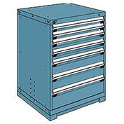 Rousseau Modular Storage Drawer Cabinet 30x27x40, 7 Drawers (4 Sizes) w/o Divider, w/Lock, Blue