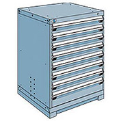 Rousseau Modular Storage Drawer Cabinet 30x27x40, 8 Drawers (2 Sizes) w/o Divider, w/Lock, Blue