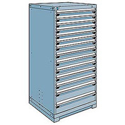 Rousseau Modular Storage Drawer Cabinet 30x27x60, 14 Drawers (3 Sizes) w/o Divider, w/Lock, Blue