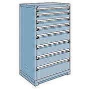 Rousseau Modular Storage Drawer Cabinet 36x24x60, 8 Drawers (5 Sizes) w/o Divider, w/Lock, Blue