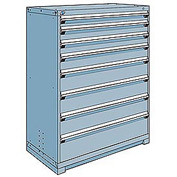 Rousseau Modular Storage Drawer Cabinet 48x24x60, 8 Drawers (5 Sizes) w/o Divider, w/Lock, Blue