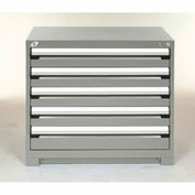 Rousseau Modular Storage Drawer Cabinet 36x24x32, 5 Drawers (2 Sizes) w/o Divider, w/Lock, Gray
