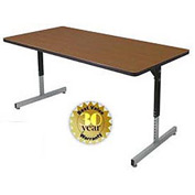 "Allied Plastics Computer and Activity Table - Adjustable Height - 72"" x 30"" - Walnut"