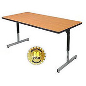 "Allied Plastics Adjustable Height Pedestal Leg Computer and Activity Table - 30"" x 72"" - Oak"