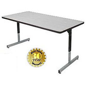 "Allied Plastics Adjustable Height Pedestal Leg Computer and Activity Table - 30"" x 72"" - Gray"