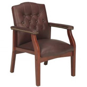 Boss Reception Guest Chair with Arms and Nail Head Trim - Leather - Mid Back - Mahogany