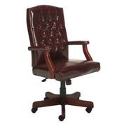 Boss Executive Office Chair - Vinyl - High Back - Mahogany
