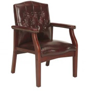 Boss Executive Office Chair - Vinyl - Mid Back - Mahogany