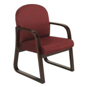 Boss Reception Guest Chair with Arms and Wood Frame - Fabric - Burgundy