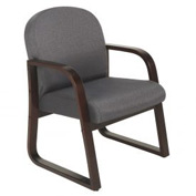 Boss Reception Guest Chair with Arms and Wood Frame - Fabric - Gray