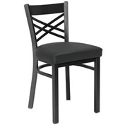 Fabric Cross Back Chair Black