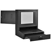 LCD Counter Top Security Computer Cabinet - Black