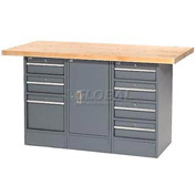 "60""W x 30""D Maple Top 7 Drawer/1 Cabinet Workbench"