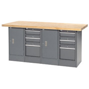 "72""W x 30""D Maple Top 6 Drawer/2 Cabinet Workbench"