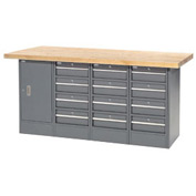 "72""W x 30""D Maple Top 12 Drawer/1 Cabinet Workbench"