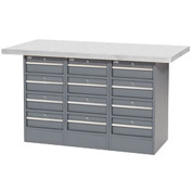 "60""W x 30""D Plastic Top 12 Drawer Workbench"