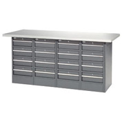 "72""W x 30""D Plastic Top 16 Drawer Workbench"