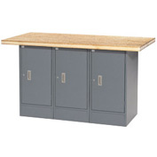 "60""W x 30""D Shop Top 3 Cabinet Workbench"