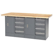 "72""W x 30""D Shop Top 8 Drawer/2 Cabinet Workbench"