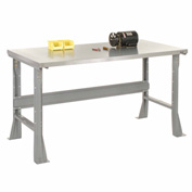 "60""W X 30""D X 34""H Stainless Steel Square Edge Workbench - Gray"
