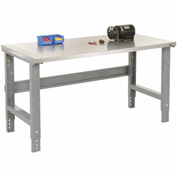 "48""W X 30""D Stainless Steel Square Edge Top Workbench - Adjustable Height - 1-1/2"" Top - Gray"
