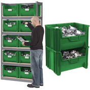Steel Boltless Wood Deck Shelving With 10 Plastic Hopper Bins Green, 42x15x84