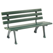 4'L Park Bench With Backrest - Green