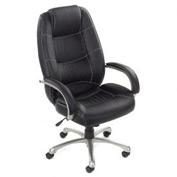 Executive Office Chair with Arms and Saddle Stitching - Leather - High Back - Black